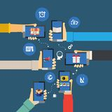 Mobile apps infographics. Vector interaction mobile apps infographics with human head and hands with smartphones Stock Image