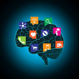 Mobile apps installed into the brain, replacing the mind, consciousness Royalty Free Stock Photo