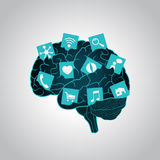 Mobile apps installed into the brain, replacing the mind, consciousness Royalty Free Stock Images