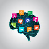 Mobile apps installed into the brain, replacing the mind, consciousness Stock Images