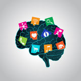 Mobile apps installed into the brain, replacing the mind, consciousness Stock Image