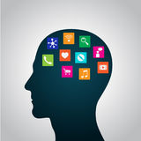 Mobile apps installed into the head, replacing the mind, consciousness Stock Image