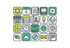 Mobile apps line style icons. Thin line icons with flat design elements of abstract mobile apps, smartphone application web buttons for business and common usage vector illustration