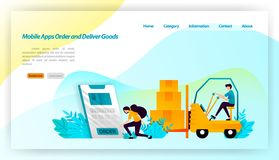 Mobile apps Order and Deliver Goods. ordering packages from online store is deliver to warehouse and consumer. transportation equi. Pment illustration concept vector illustration