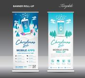 MOBILE apps Roll up banner template on Winter Landscape Background, Christmas sale, stand layout, blue banner. Application presentation, infographics Stock Image