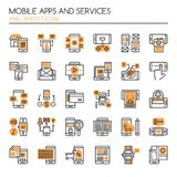 Mobile Apps and Service. Thin Line and Pixel Perfect Icons Stock Images