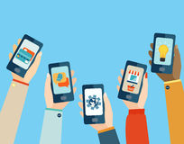 Mobile apps set. Concept for mobile apps, Flat design vector illustration Royalty Free Stock Photography