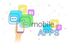 Mobile apps on smartphone. Concept illustration. Human hand holds smart phone with popular apps such as messenger, voice call, camera, e-mail. Applications and Stock Image