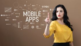 Mobile apps text with business woman royalty free stock images
