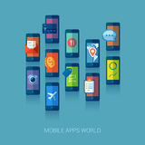 Mobile apps universe flat icons concept Stock Images