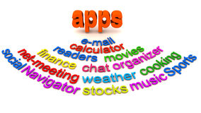 Mobile apps word collage. Word collage of mobile phone or tablet computer apps, specialized software for different tasks Royalty Free Stock Photos