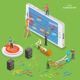 Mobile audio editor flat isometric vector concept. Stock Photos