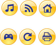 Mobile, audio,games, printing, home, reload icons Royalty Free Stock Photography