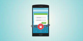 Mobile authentication. Username and password locked and chain Stock Photography