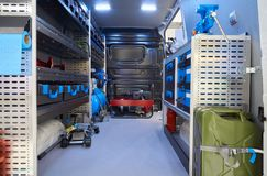 Mobile auto service. Interior of mobile auto service on the chassis of all-metal van stock images