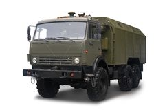 Mobile automotive kitchen PAK-200M-04 on the chassis of a KAMAZ truck is in service with the Russian Army. Isolated on royalty free stock photos