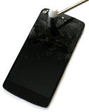 Mobile avec l'écran brisé Image libre de droits