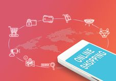 Mobile avec le mot d'achats et les icônes en ligne, affaires mars de Digital Image stock