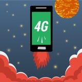 Mobile avec le vol de l'Internet 4G en ciel nocturne illustration libre de droits