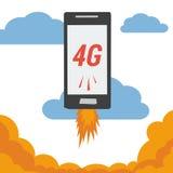 Mobile avec le vol de l'Internet 4G en nuages illustration libre de droits
