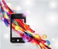 Mobile avec les lignes lumineuses Images libres de droits