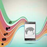Mobile background illustration icons Stock Image