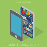 Mobile background inwards technology flat 3d isometric vector Royalty Free Stock Photo