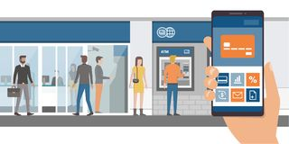 Mobile banking app. On a smartphone and bank with customers and atm on the background, technology and finance concept stock illustration