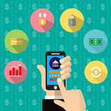 Mobile banking app on smartphone screen.   Financial app, online banking. finger touching   screen. Vector illustration. Mobile banking app on smartphone screen Royalty Free Stock Photography