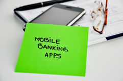 Mobile banking apps development. Concept royalty free stock image