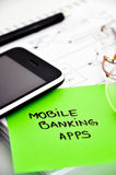 Mobile banking apps development. Concept royalty free stock images