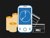 Mobile banking background Stock Photos