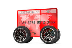 Mobile Banking Concept. Credit Card on Wheels Royalty Free Stock Image