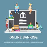 Mobile banking concept illustration of people using laptop and mobile smart phone for online banking. Flat design vector illustration