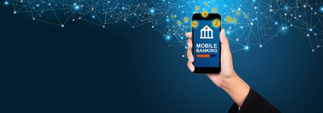 Mobile banking concept. Mobile banking on smartphone screen in b royalty free stock images