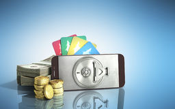 Mobile banking concept mobile phone with dollar stacks coins and. Credit cards 3d render on blue glass background Royalty Free Stock Image