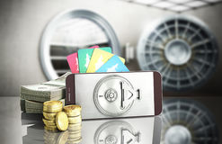 Mobile banking concept mobile phone with dollar stacks coins and. Credit cards 3d render on glass background Royalty Free Stock Photo