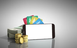Mobile banking concept mobile phone with dollar stacks coins and Stock Photos