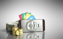Mobile banking concept mobile phone with dollar stacks coins and. Credit cards 3d render on grey glass background Stock Image