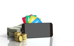 Mobile banking concept mobile phone with dollar stacks coins and Royalty Free Stock Photography