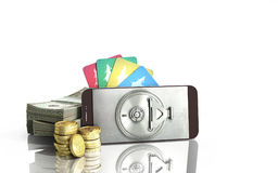 Mobile banking concept mobile phone with dollar stacks coins and. Credit cards 3d render on white glass background Stock Images