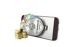 Mobile banking concept mobile phone with money dollar stacks coi. Ns and credit cards 3d render on white no shadow Stock Image
