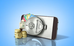 Mobile banking concept mobile phone with money dollar stacks coi Royalty Free Stock Photos