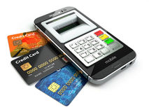 Mobile banking concept. Smartphone as ATM and credit cards. Stock Photo