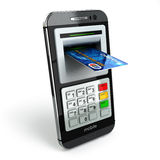 Mobile banking concept. Smartphone as ATM and credit cards. Royalty Free Stock Images