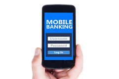 Mobile banking concept. On smartphone screen or cellphone display Stock Photography