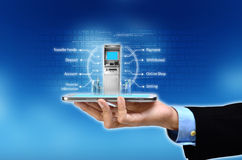 Mobile Banking Concept. Visualization of mobile or internet based banking concept Stock Photography