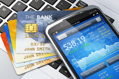 Mobile banking and finance concept Royalty Free Stock Images