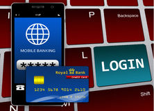Mobile banking and finance concept. Keyboard with loggin button Stock Image