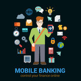 Mobile banking finance flat vector concept: tablet banking icons. Flat style online mobile banking finance control access concept. Young man with tablet Royalty Free Stock Photo